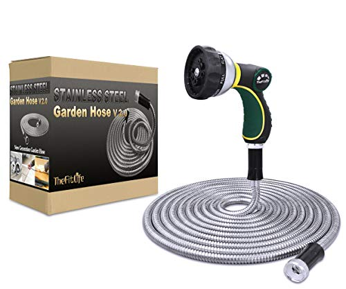 TheFitLife Flexible Metal Garden Hose - 25/50/75/100 FT 304 Stainless Steel Water Hose with Newest Spray Nozzle and Solid Metal Fittings, Lightweight, Kink Free, Durable and Easy to Store (25 Feet)