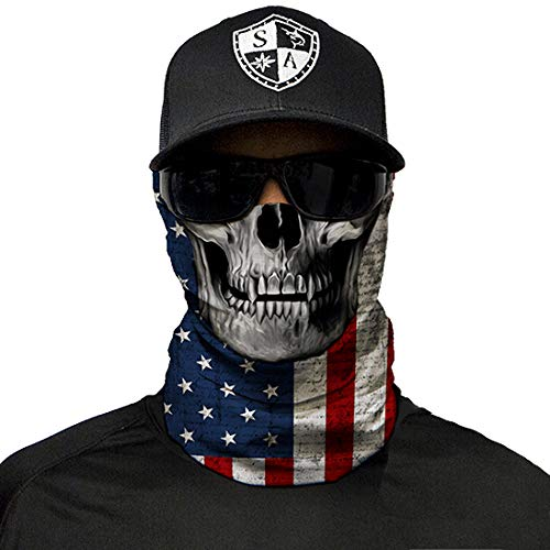 SA Company Face Shield Micro Fiber Wind, Dirt Bugs.Keep Warm On Cool Days. Worn as a Balaclava, Neck Gaiter, Head Band, Doo RAG For Hunting, Fishing Cycling and Salt Lovers. - American Flag Skull