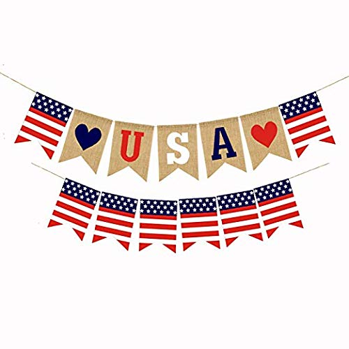 (American Burlap Bunting 4th of July Banner Independence Day Decoration White and Blue Stars Banner for 4th of July Décor)