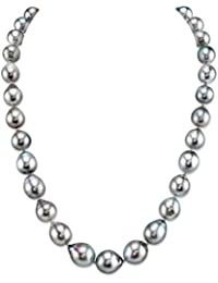 "14K Gold 9-11mm Platinum Tahitian South Sea Cultured Baroque Pearl Necklace - AAA Quality, 18"" Princess Length"
