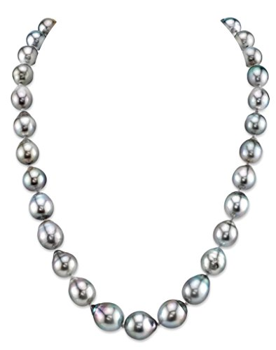 THE PEARL SOURCE 14K Gold 8-10mm AAA Quality Baroque Genuine Platinum Tahitian South Sea Cultured Pearl Necklace in 18 Princess Length for Women