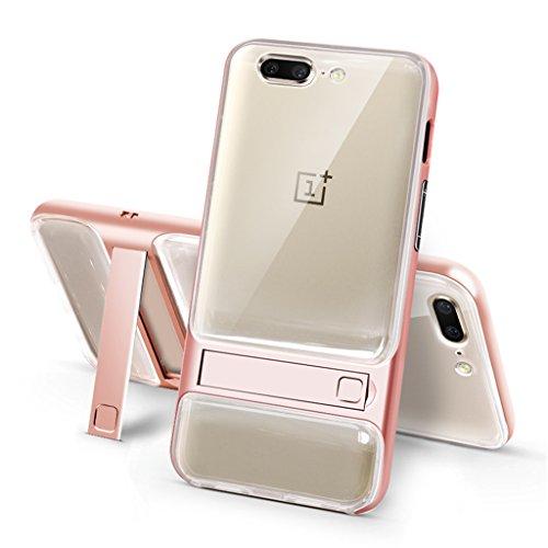 OnePlus 5 Funda - Soporte Invisible a Prueba de Choques de Protección Transparente Carcasa para OnePlus 5 - Gris Pink