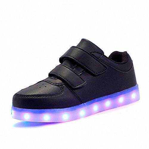 Eur25-37// Usb Glowing Sneakers Basket Led Children Lighting Shoes illuminated krasovki Luminous Sneakers for Boys and Girls Black (2m Illuminated Usb)