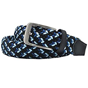 Ground Mind Multi-Color Men's Elastic Braided Belt 1 3/8 inch Women