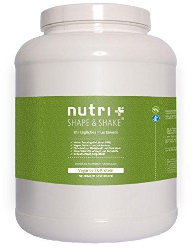 Nutri-Plus Shape & Shake Vegan Neutral 2kg - Veganes Eiweißpulver ohne Zusatzstoffe, Süßstoff, Laktose & Milcheiweiß