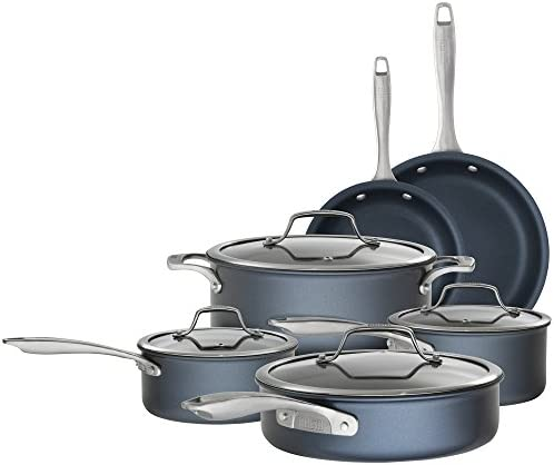Bialetti 7466 Sapphire 10 piece Nonstick Hard Anodized Cookware Set – Induction Compatible, Dishwasher Safe, Dark Blue