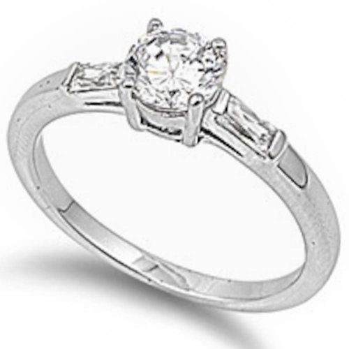 .50Ct Round & Baguette Engagement Solitaire .925 Sterling Silver Ring Size 8