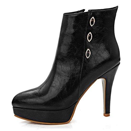 COOLCEPT Damen Knöchelriemchen Reißverschluss Schwarz Spitze Toe Plateau Stiefel Stilett Mode Elegant Schwarz
