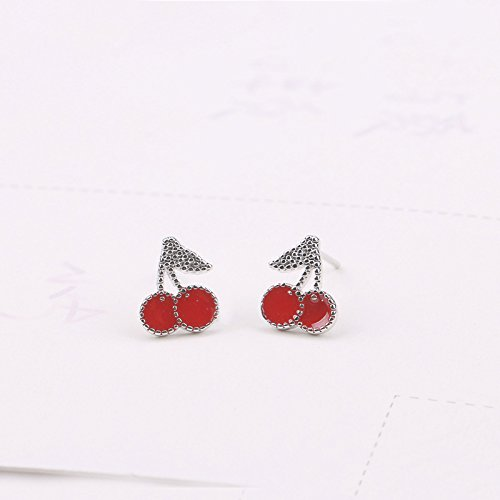 S925 Sterling Silver Plated Beads Sided Red Cherry Charm Women girls stud Earrings