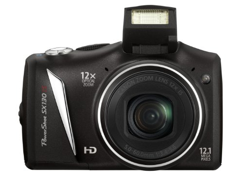 Canon PowerShot SX 130 IS Digitalkamera (12 Megapixel, 12-fach opt. Zoom, 7,5 cm (2,95 Zoll) Display, bildstabilisiert ) schwarz