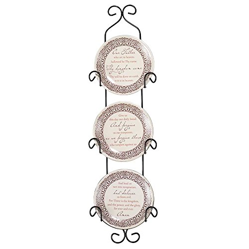 The Lord's Prayer Ceramic Mini Wall Plates With Metal Display Rack, Set of (Lords Prayer Decorative Plate)