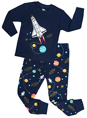 shelry Boys Rocket Pajamas Children Christmas Pants Set 100% Cotton Size 10 Years Blue ()