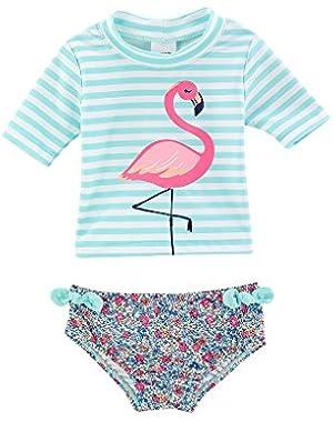 Baby Girls' Flamingo Rashguard Swimsuit Set