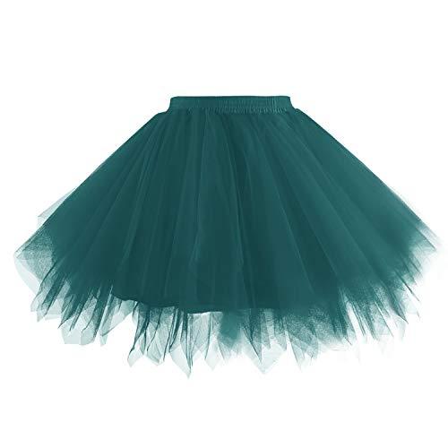 Hanpceirs Women 1950s Short Vintage Tulle Petticoat Skirt Ballet Bubble Tutu Teal M -