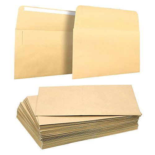 Gold Envelope (50 Pieces A7 Envelopes - 5.25 x 7.25 Inches Square Flap Envelopes - Perfect for Weddings, Graduations, Baby Showers - 120 GSM, Metallic Gold)
