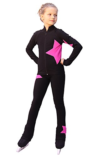IceDress Figure Skating Outfit - Star (with Pants) (Black witn Pink) (CL)