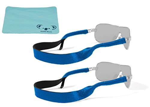 Croakies Original Neoprene Eyewear Retainer Sunglass Strap Band | Eyeglass & Sports Glasses Holder Keeper Lanyard | 2pk Bundle + Cloth, Royal - Running Eyewear