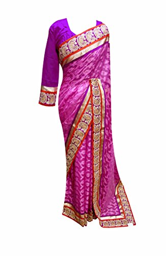 women's Indian Lilac with Gold and Red border saree long sleeves blouse 7089 - Red Indian Womens Costume Uk