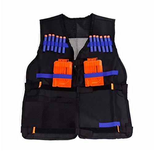 Gilet de veste avec support de N-Strike Pistolet Boules Jouet Clip Flechettes pour Nerf SODIAL 54x47 cm Gilet de Veste Noir pour les Enfants