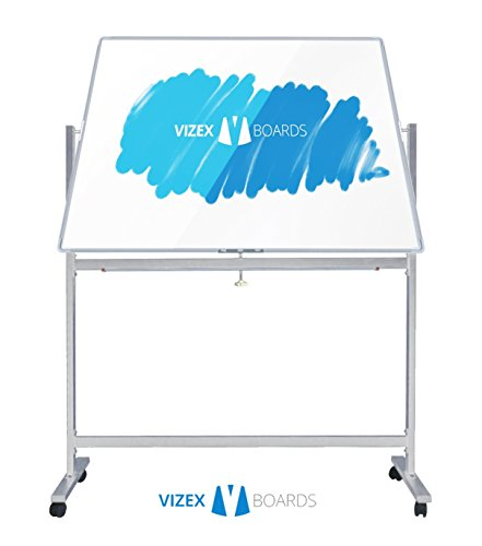 Dry Erase Board with Stand - 48'' x 24'' Magnetic Whiteboard with Stand by Vizex Boards