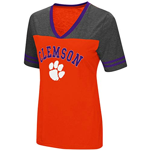 Colosseum Women's NCAA Varsity Jersey V-Neck T-Shirt-Clemson Tigers-Orange-Medium from Colosseum