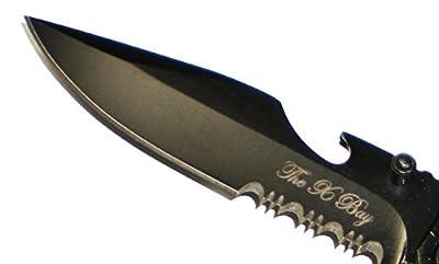 SILVER 6 In 1 Rescue Survival Knife LED Flashlight + Glass Breaker + Fire Starter + Seat Belt Cutter + Bottle Opener