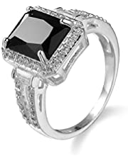 Finemall Women Fashion Jewelry 925 Sterling Silver Black Onyx Wedding Engagement Ring Size 6-10