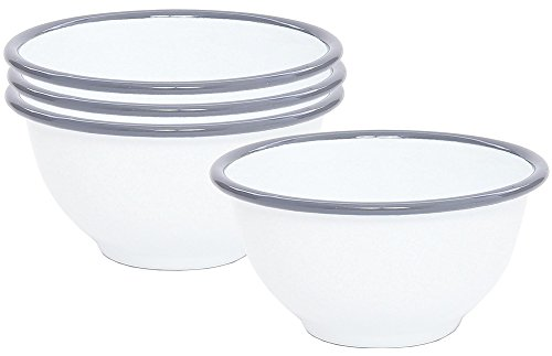 Enamelware Small Footed Bowl - Solid White with Grey Rim - Set of 4