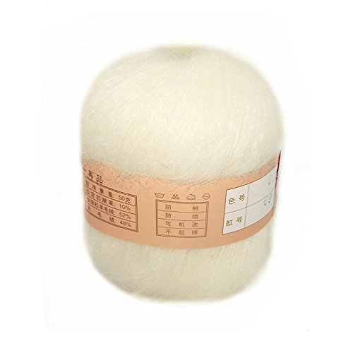 Celine lin One Skein Soft&Warm Angola Mohair Cashmere Wool Knitting Yarn 50g,White