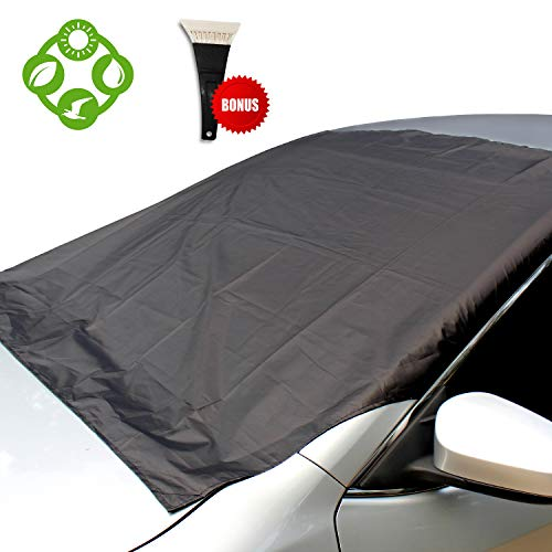 Orbly Windshield Snow Cover for Car: Outdoor Magnetic Strap Waterproof Tarp Protector Against All Weather | Covers Entire Windshield for Most Automobiles, Van, Truck, SUV | Guard from Frost and Sun