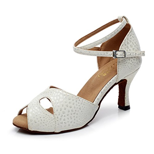 Ankle Modern Dance Dance Latin Shoes Samba Onecolor Pu Jazz Bottom Leather Soft Sandals BYLE Shoes Strap White FEwxqCpXWB