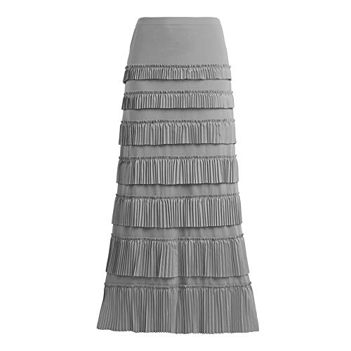 Women's 7 Tiered Boho Layered Pleated Ruffles Waterfall Maxi Skirt (1X, Gray)