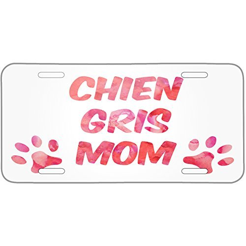 Saniwa Dog & Cat Mom Chien gris Metal License Plate 6X12 Inch