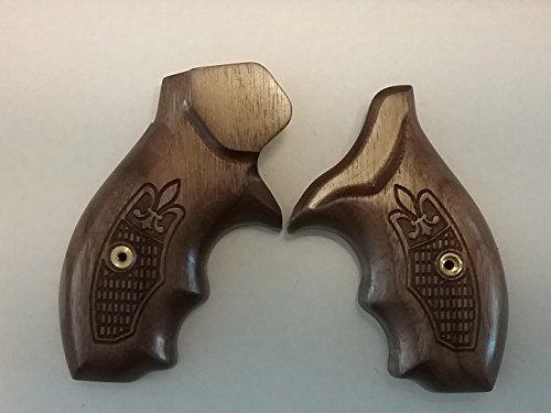 CFP - S&W J-Frame - Finger Groove - Boot Clip Grip - Round Butt - Walnut - Fleur-de-lis Checkering - Revolver Boot Clip Series Grips ()