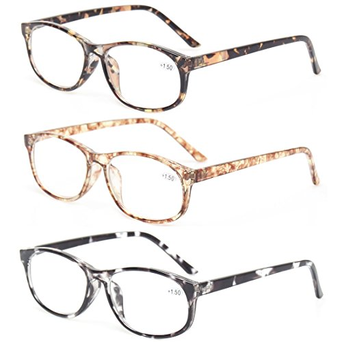 Kerecsen 3 Pack Fashion Men and Women Reading Glasses Stylish Designed Readers (3 Pack Mix Color, 1.5)