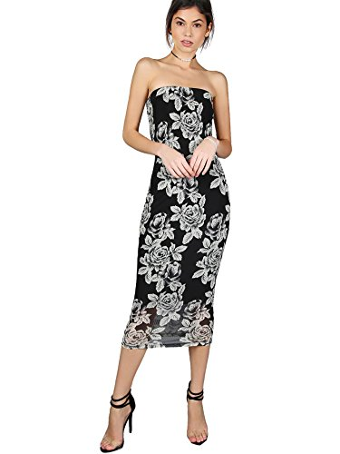 MakeMeChic Women's Summer Bodycon Strapless Floral Midi Tube Dress Black (Mesh Strapless Dress)