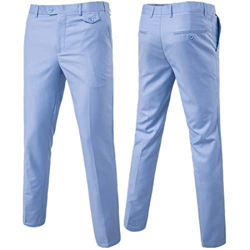 Esencial Coupe Pantalon Devant Clair Classique Homme Sich Pour Simple Plat Travail Oficina Chino Slim Bleu Costume De Formelle xPrPqI1