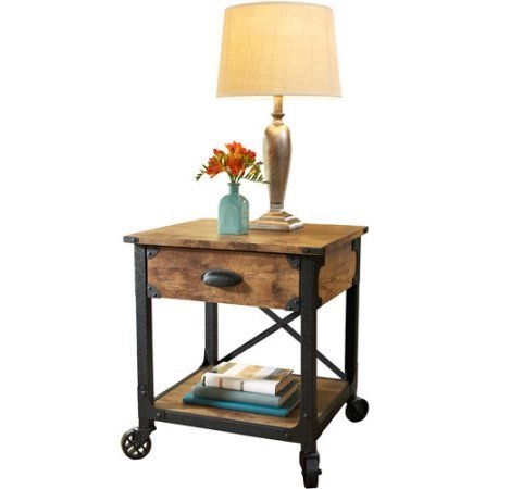 (Better Homes and Gardens Rustic Country Side Table with Storage Drawer, Antiqued Black/Pine)