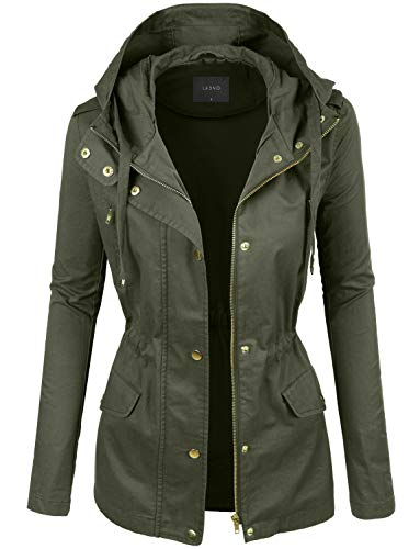 LE3NO Womens Lightweight Cotton Military Anorak Jacket with Hoodie, Large (Olive) (Military Jacket Women Grey)