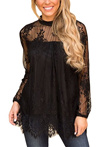 BLENCOT Women's Sexy Floral Lace Tunics High Neck Long Sleeve Flowy Shirts Blouses Tops-Black Large