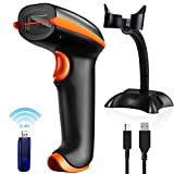 Tera Wireless Barcode Scanner (Wireless/Wired) 100K Barcode Storage Capacity| Laser Handheld Scanner + Stand & USB Receiver