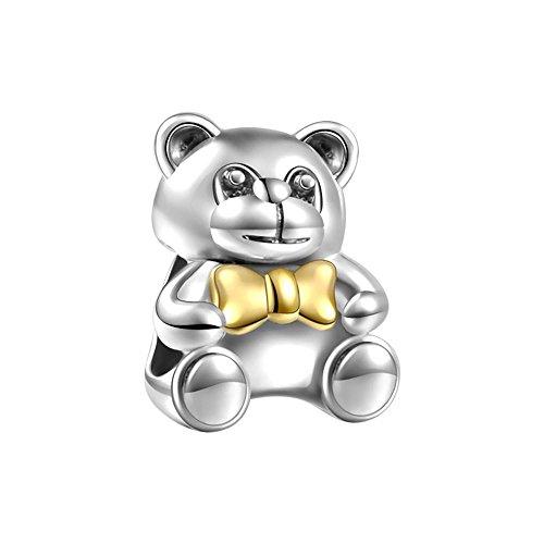 Soufeel 14K Gold Bear Charm Love Bear Charms Cute Bear Charms 925 Sterling Silver Fit European Bracelets