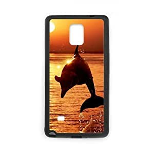 Diy Cute Dolphin Custom Cover Phone Case for samsung galaxy note 4 Black Shell Phone [Pattern-4]