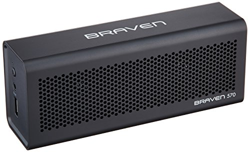 (Braven 570 Portable Wireless Bluetooth Speaker [10 Hour Playtime][Waterproof] Built-in 1400 mAh Power Bank Charger - Black)