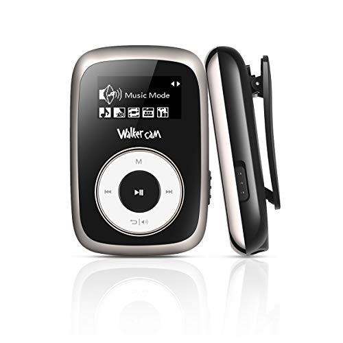 Walkercam M2 Clip MP3 Player with FM Radio, 8GB Music Player for Running, Black