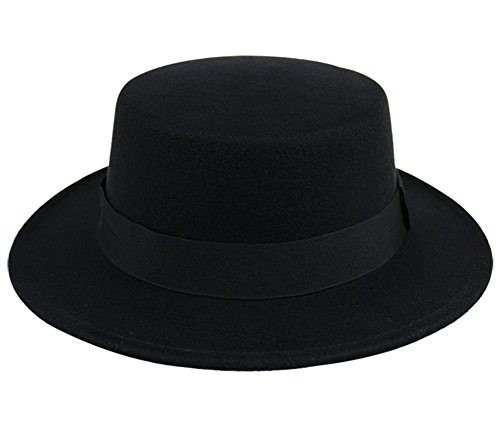 [Summerwhisper Women's Men's Wool Fat Pork Pie Top Hat Cap Unisex Black] (Pork Pie Hat For Sale)