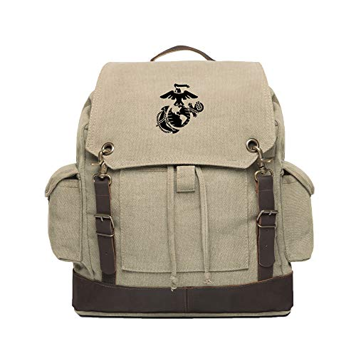 U.S. Marine Corps Semper Fidelis Text Canvas Rucksack Backpack w Leather Straps