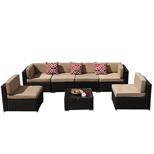 PATIOROMA 7 Piece Patio Conversation Set, Outdoor PE Wicker Rattan Sectional Furniture Sofa Set with Beige Seat and Back Cushions, Steel Frame, Espresso Brown