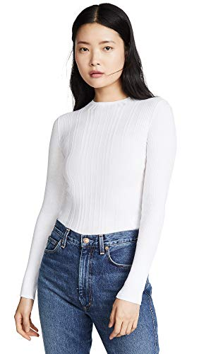 - Vince Women's Variegated Rib Mock Neck Pullover, Optic White, Small