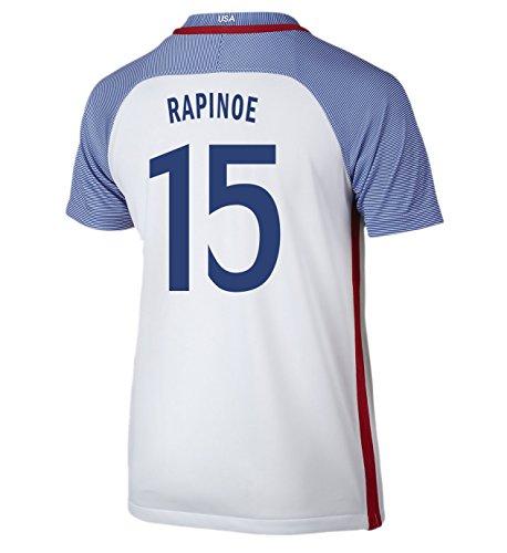 (Nike Rapinoe #15 USA Home Soccer Jersey Rio 2016 Olympics Youth. (YXS) White)